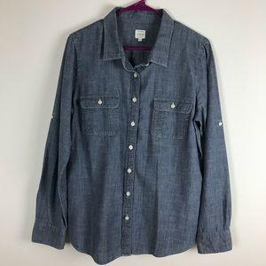 J. Crew Womens Long Sleeve Chambray Shirt Size L